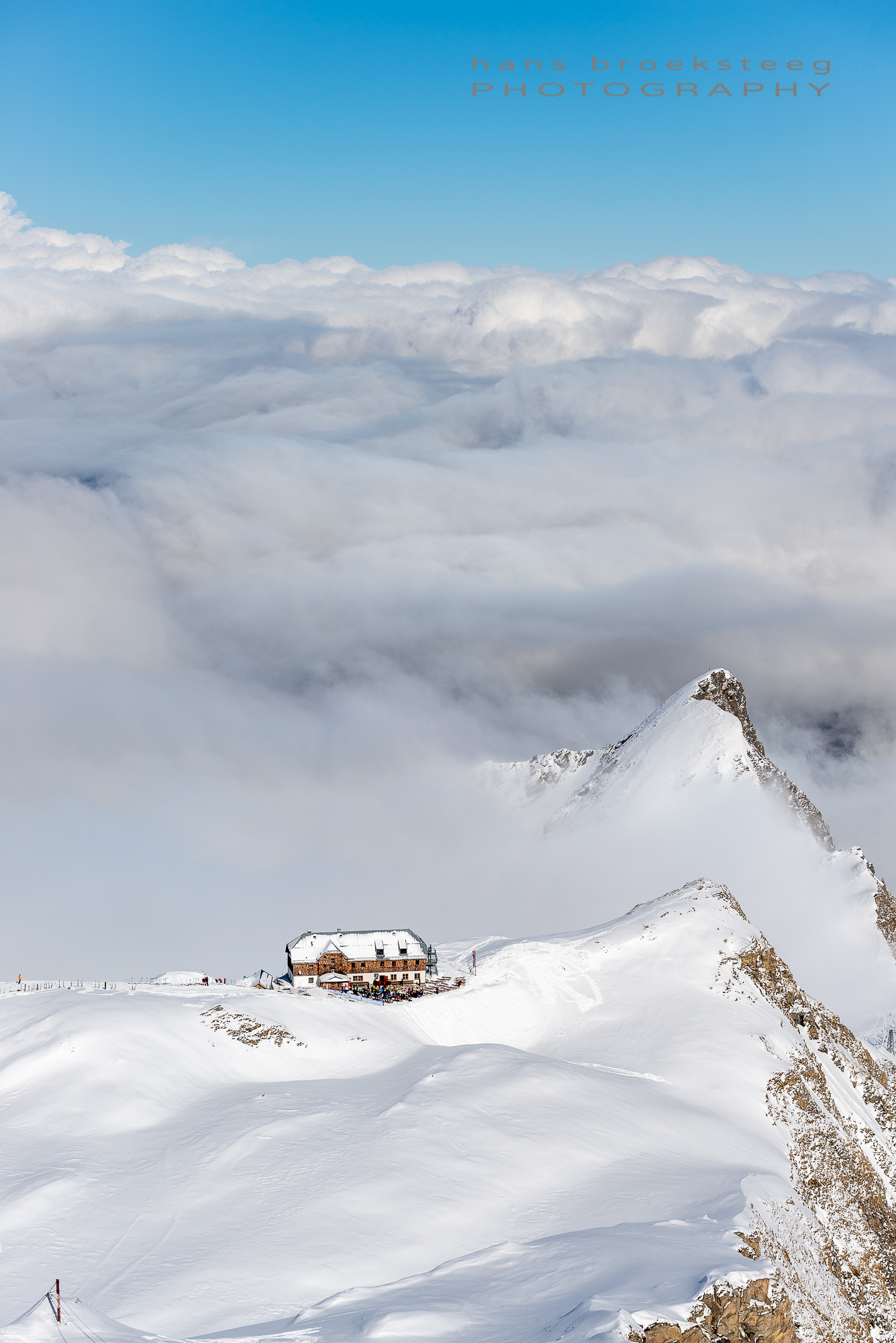 Austrian Alps winter view with cloud inversion