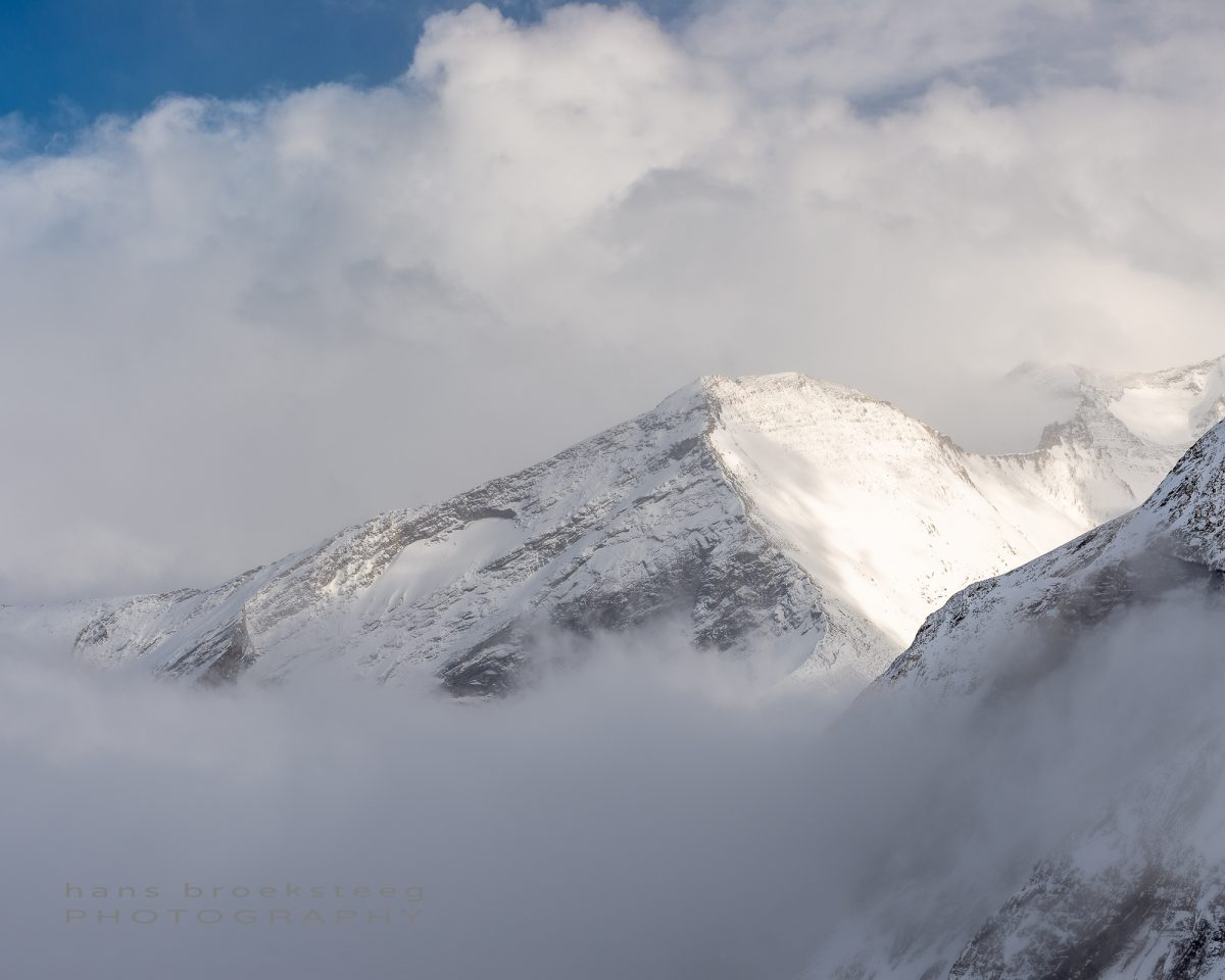 Mountain ridge and clouds in the Austrian Alps